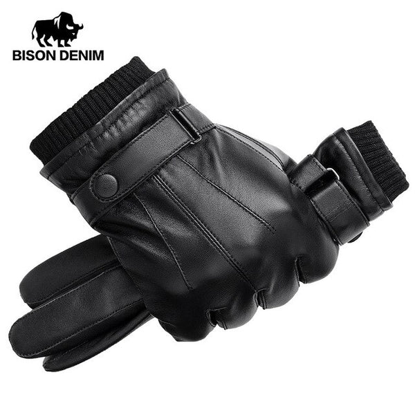 Men Genuine Sheepskin Warm Touch Screen Full Finger Black Gloves High Quality
