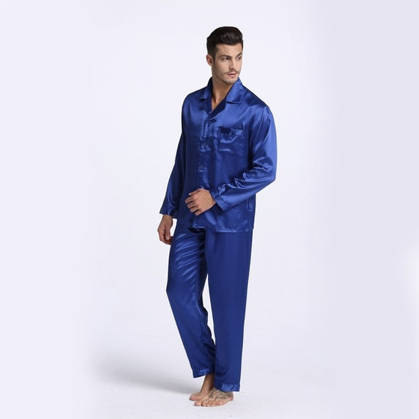 Men Pajamas Silk Sleepwear Sexy Modern Style