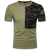 Male 2018 New Short Sleeve Camouflage Splicing Casual T Shirt