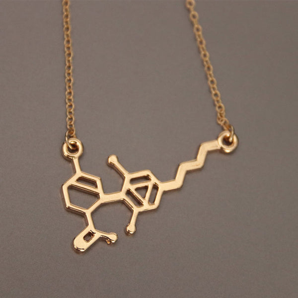 Wholesale10pc CBD Molecule Clavicle Necklaces Dainty Chemistry Element Pendants Gold Silver Color Female Science Jewelry