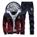 2019 Men Warm Thick Suit Patchwork Zipper Hooded Sweatshirt +Sweatpants
