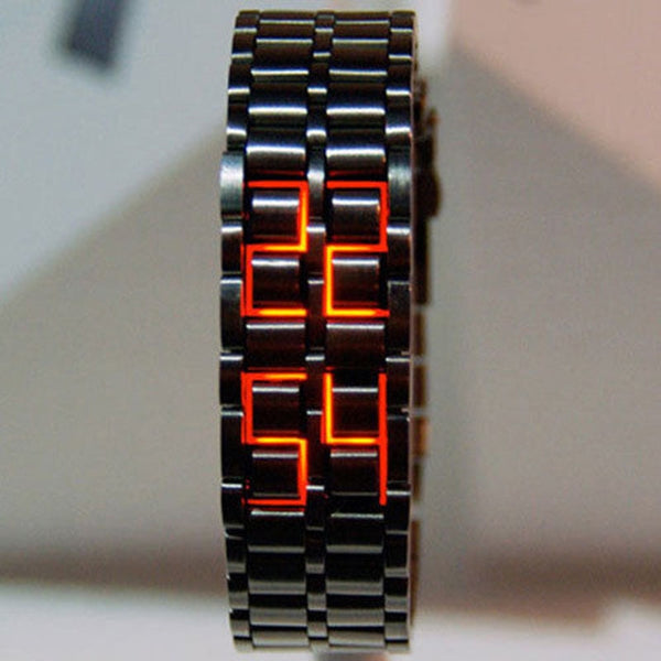 Fashion Black Full Metal Digital Lava Wrist Watch