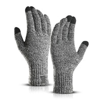 Knitted Wool Touch Screen Gloves Men Warm Short Plush Lining