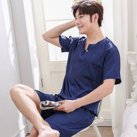 Thoshine Brand  Men Satin Silk Pyjamas Sets of T-shirt & Shorts