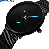 Mens  Luxury Quartz Watch Slim Mesh Steel Waterproof