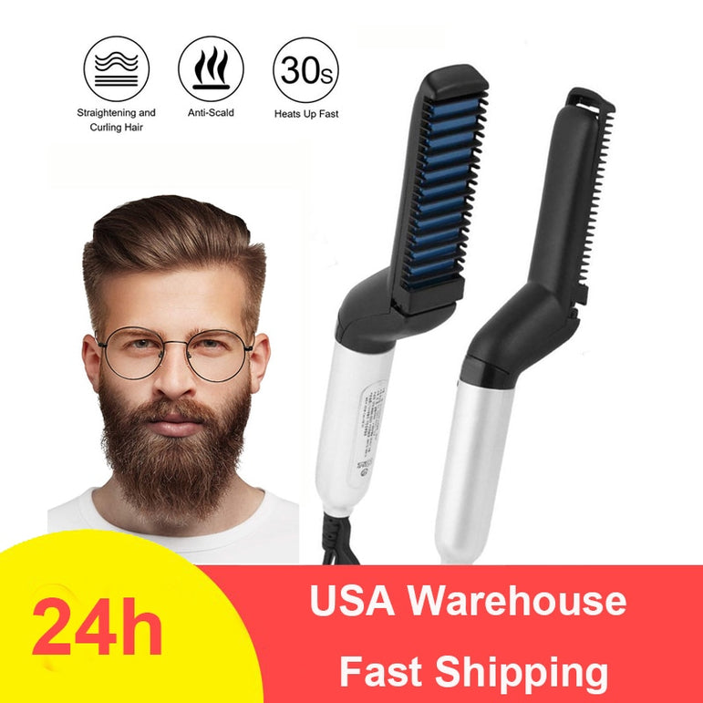 Multifunctional Beard Straightener Heated man's Hair Beard Flat Iron Quick  Straightening Beard Brush Show Cap