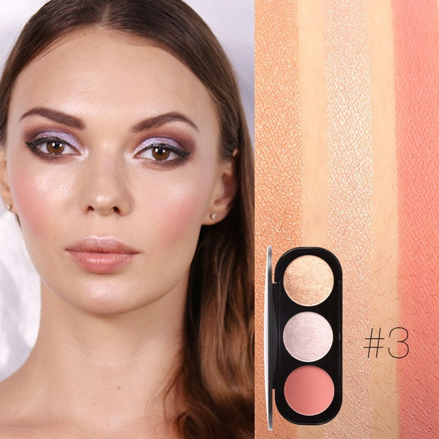 FOCALLURE 3 Colors Blush&Highlighter Palette Face Matte Highlighter Illuminated Blush Powder