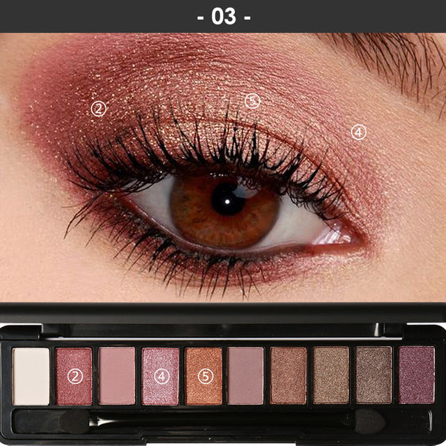 Pro 10 Colors Set Women Waterproof Powder Cosmetic with Brush