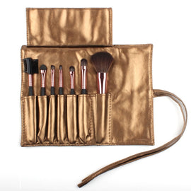 High Quality Makeup Brush Set in Sleek Golden Leather Case