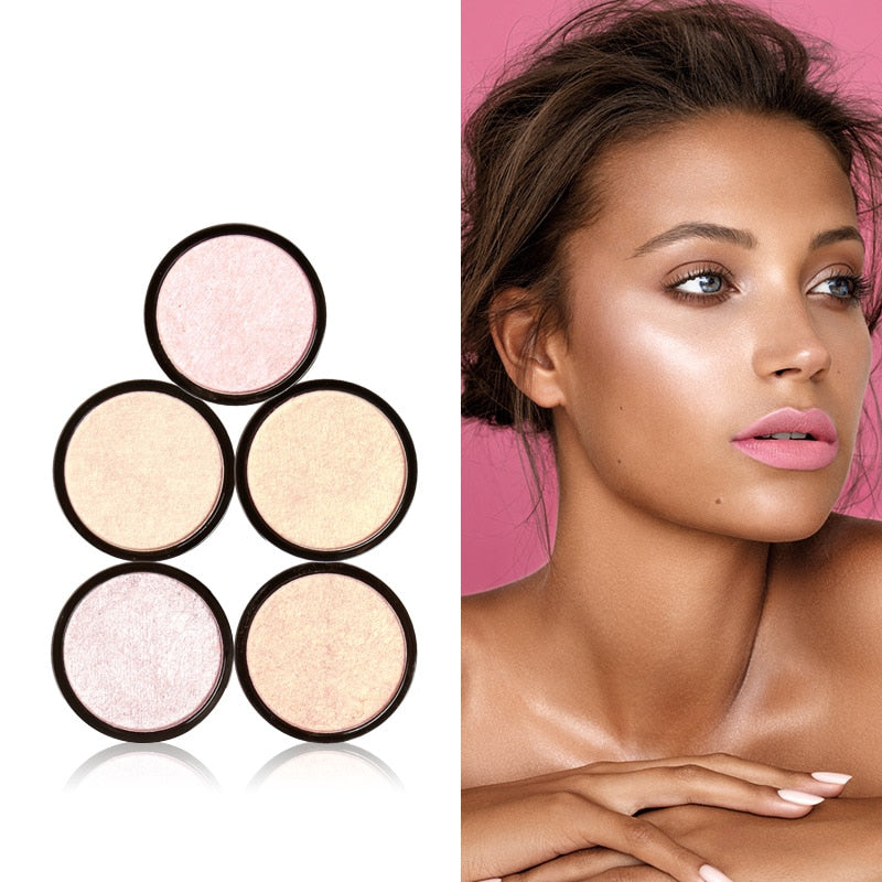 FOCALLURE Highlighter 5 Colors Illuminator Brightening Face Pressed Highlighter Powder