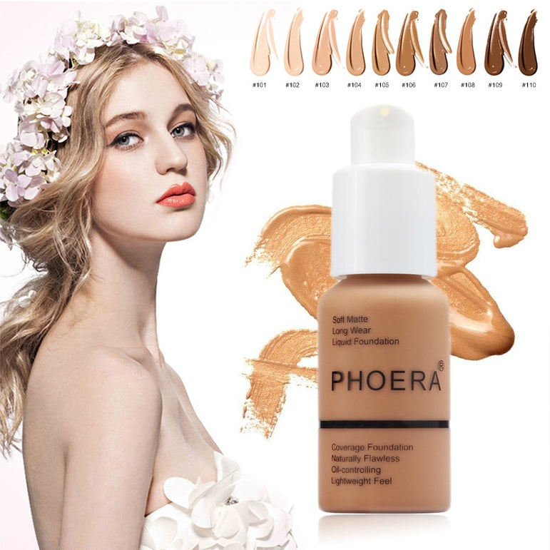 PHOERA Mineral Makeup Primer Whitening Concealer Moisturizer Natural Liquid Foundation