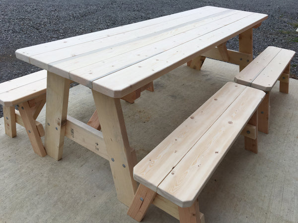 T4L - 8' Picnic Table with Detachable Benches - The Giving Table