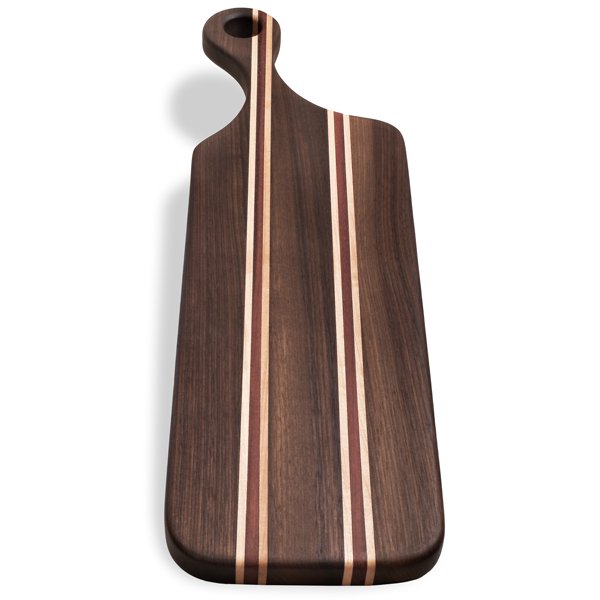 Walnut Bloodwood Offset Handle Board - The Giving Table