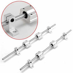 2Pcs 8mm 400mm Shaft Rod Rails + 4Pcs Bearing Blocks + 4Pcs Fixed Bearings For 3D Printer CNC