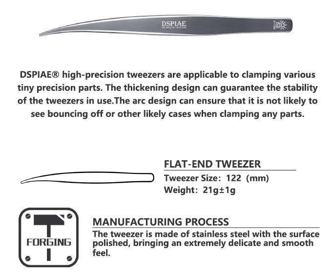 Dspiae AT-TZ02 Flat-End Tweezer