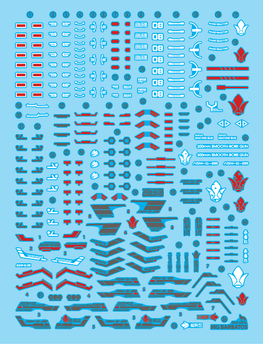 MG BARBATOS HOLO WATER DECAL - gundam-store.dk
