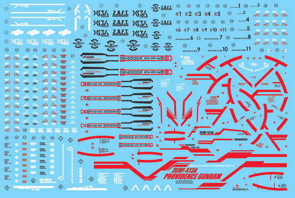 MG PROVIDENCE WATER DECAL ( RED ) - gundam-store.dk