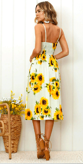 Women's Bohemian Sundress 2019 Limited Edition Sunflower Bloom - Very Goodeals