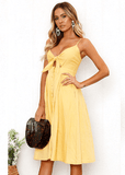 Women's Bow Backless V-Neck Bohemian Dress - Very Goodeals