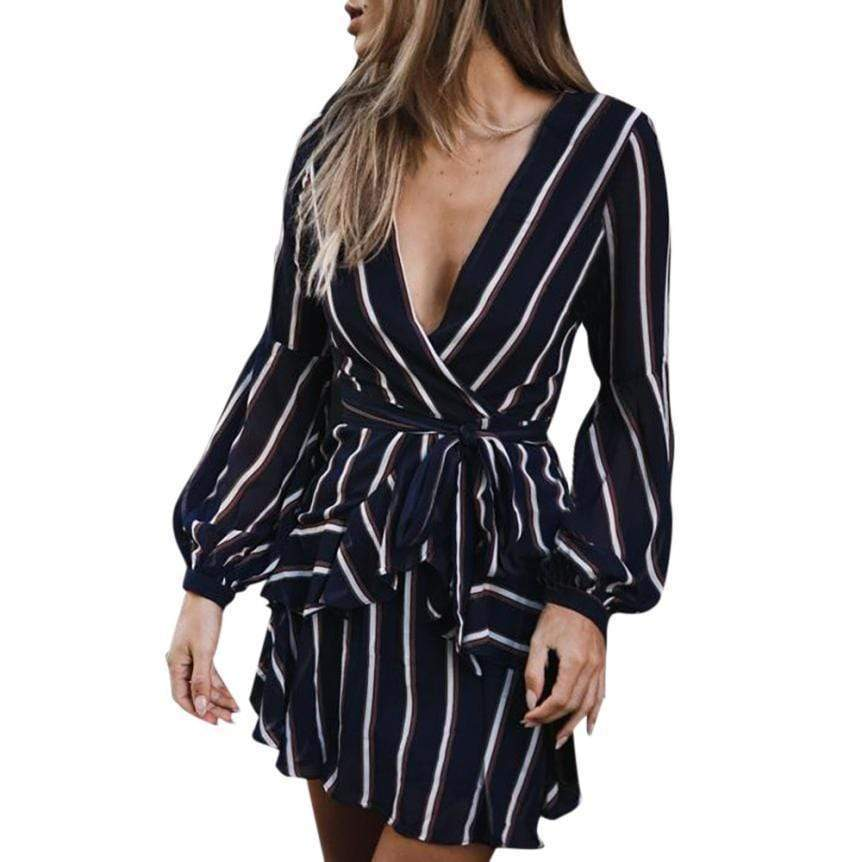 Women's Bohemian Casual/ Party Striped V-Neck Dress - Very Goodeals