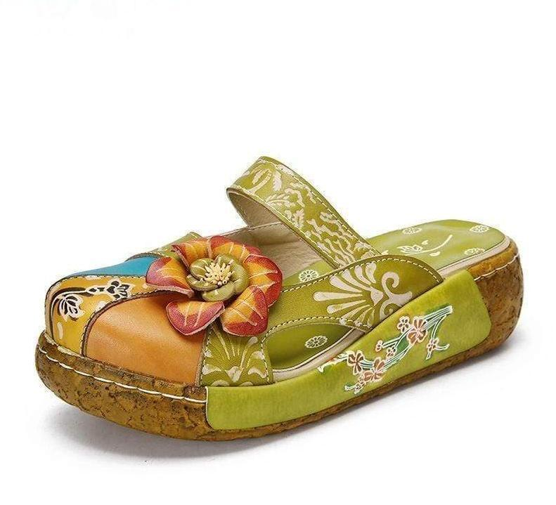 Vegan Leather High Heel Flower Flip Flops - Very Goodeals