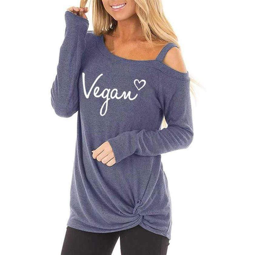 I Love Vegan Oblique Shoulder T Shirt - Very Goodeals
