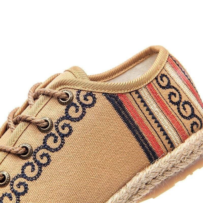 Embroidered Hemp Cotton Flat Sneakers - Very Goodeals