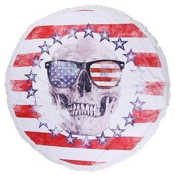 150CM Skull Pattern Beach Towel Tassel Bikini Cover-Up Mat - Very Goodeals