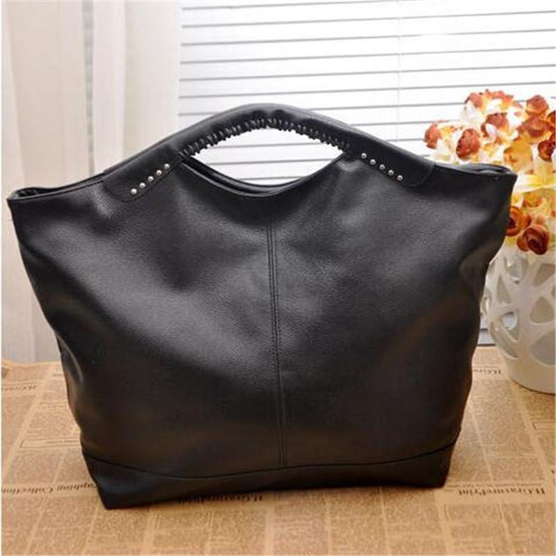 Women's Black Top Riveted Biker Hand Bag - Very Goodeals