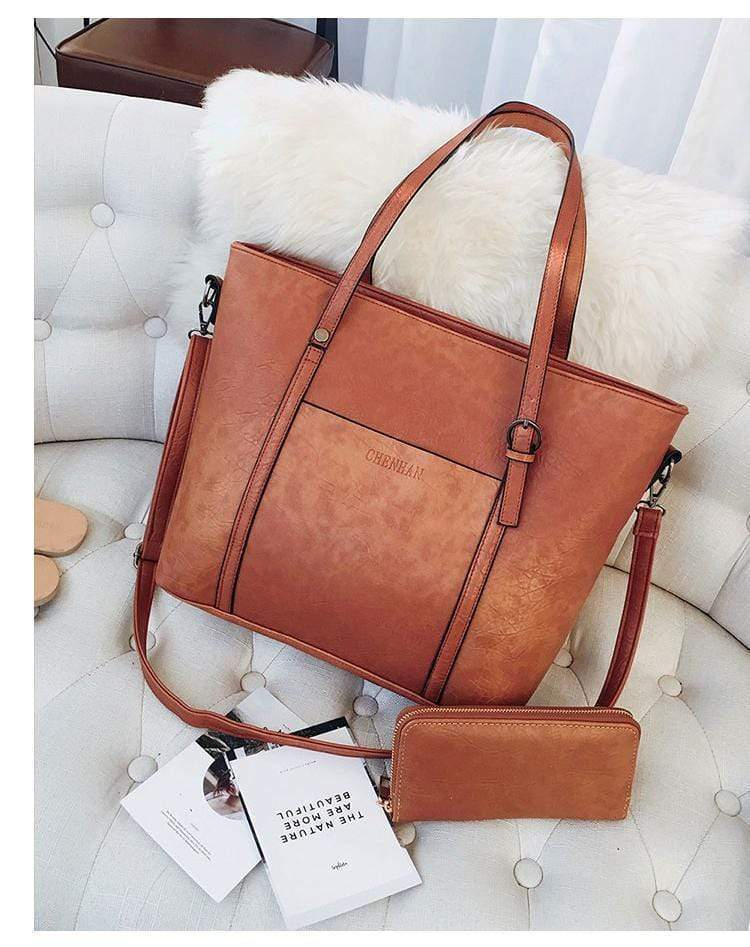Women's Large Capacity Trapezoidal Handbag with Wallet - Very Goodeals