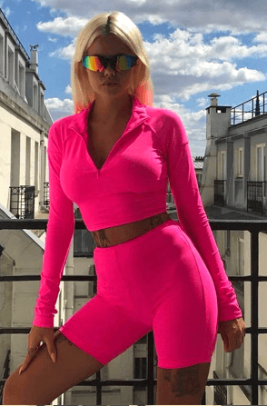 Women's Two Piece Turtleneck Full Sleeve Athleisure Suit - Very Goodeals