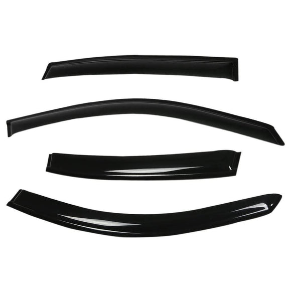 Side Rain Door Visor Compatible with Mahindra TUV 300, Set of 6 [Black]