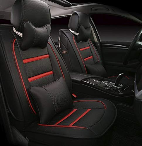 Leatherette Custom Fit Front and Rear Car Seat Covers Compatible with Hyundai Eon, (Black/Red)