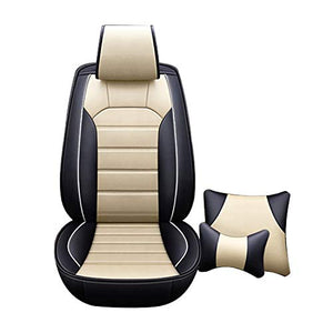 Leatherette Custom Fit Front and Rear Car Seat Covers Compatible with Nissan Sunny, (Black/Beige)