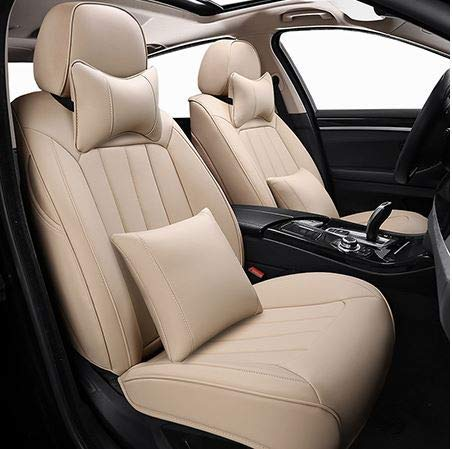 Leatherette Custom Fit Front and Rear Car Seat Covers Compatible with Hyundai Verna (2017-2020), (Beige)