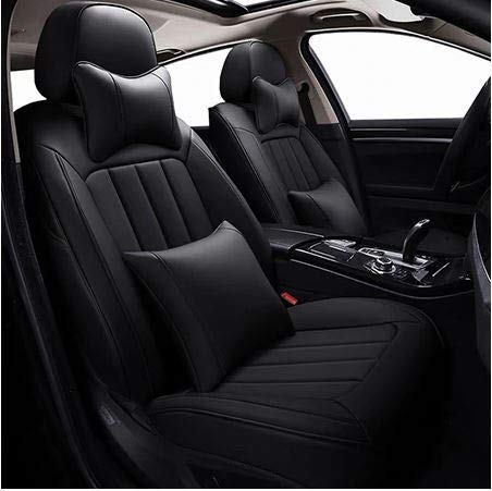Leatherette Custom Fit Front and Rear Car Seat Covers Compatible with Kia Seltos, (Black)