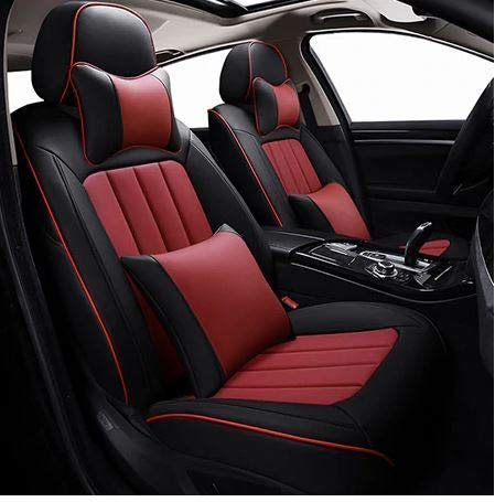 Leatherette Custom Fit Front and Rear Car Seat Covers Compatible with Kia Seltos, (Black/Red)