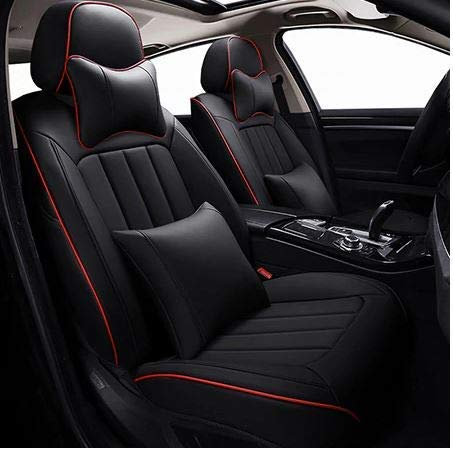 Leatherette Custom Fit Front and Rear Car Seat Covers Compatible with Hyundai Verna (2017-2020), (Black/Red)