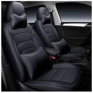 Leatherette Custom Fit Front and Rear Car Seat Covers Compatible with Hyundai Accent, (Black)