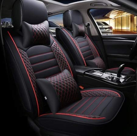 Leatherette Custom Fit Front and Rear Car Seat Covers Compatible with Hyundai Santro Xing, (Black/Red)