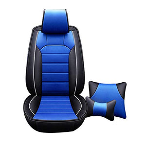 Leatherette Custom Fit Front and Rear Car Seat Covers Compatible with Hyundai Aura, (Black/Blue)