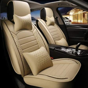 Leatherette Custom Fit Front and Rear Car Seat Covers Compatible with Hyundai Aura, (Beige/Coffee)