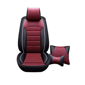 Leatherette Custom Fit Front and Rear Car Seat Covers Compatible with Toyota Innova Crysta, (Black/Cherry)