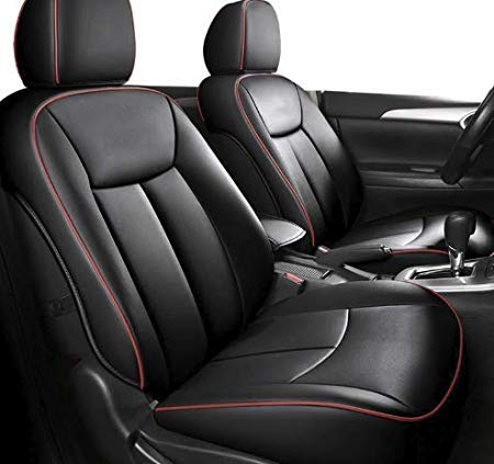 Leatherette Custom Fit Front and Rear Car Seat Covers Compatible with Maruti Swift Dzire (2013-2016), (Black/Red)