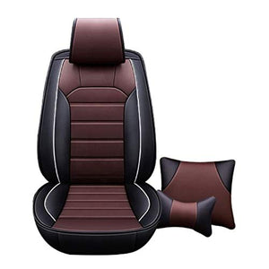 Leatherette Custom Fit Front and Rear Car Seat Covers Compatible with Volkswagen Polo, (Black/Coffee)