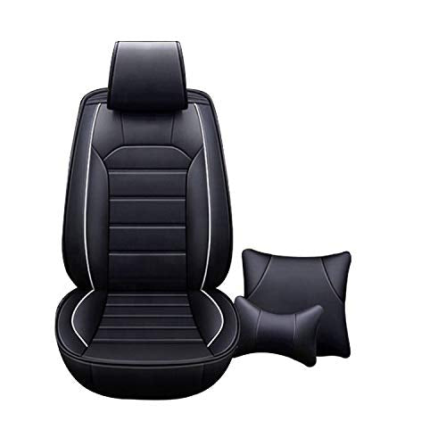 Leatherette Custom Fit Front and Rear Car Seat Covers Compatible with Nissan Micra, (Black)