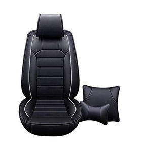 Leatherette Custom Fit Front and Rear Car Seat Covers Compatible with Honda City (2014-2019), (Black)