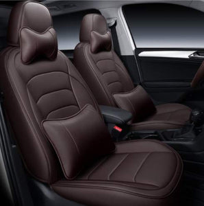 Leatherette Custom Fit Front and Rear Car Seat Covers Compatible with Nissan Terrano, (Coffee)