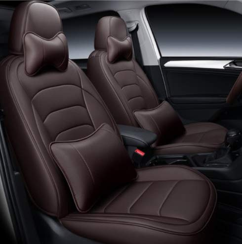 Leatherette Custom Fit Front and Rear Car Seat Covers Compatible with Hyundai Xcent, (Coffee)