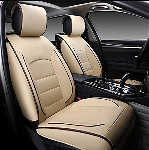 Leatherette Custom Fit Front and Rear Car Seat Covers Compatible with Nissan Micra, (Beige/Black)